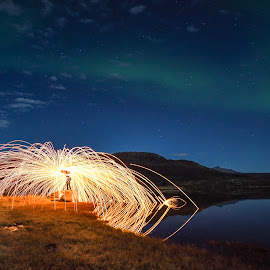 Steelwoolspinning and Aurora by Jens Andre Mehammer Birkeland - Abstract Fire & Fireworks ( water, clouds, reflection, sky, spinning, steel wool, autumn, stars, aurora borealis, steelwool, reflections )