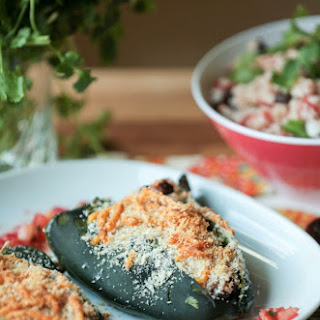 Mexican Rice and Black Bean Stuffed Poblano Peppers