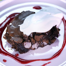 Fudgy Brownies with Raspberry Sauce