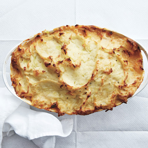 Fish Pie with Potatoes, Leeks, Zucchini, and Tomatoes