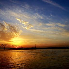 Ohio River Sunset by Chris Taylor - Landscapes Sunsets & Sunrises ( waterscape, sunset, ohio river, bridge, landscape )
