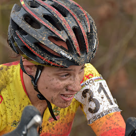 Fully Determined ! by Marco Bertamé - Sports & Fitness Cycling ( orange, spanish, lucia gonzalez blanco, 2016, cyclo-cross, number, yellow, helmet, championships, luxembourg, muddy, red, woman, 31, uci, determined, lady, world, bieles,  )