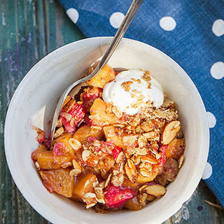 Peach-and-Rhubarb Crumble with Maple Topping