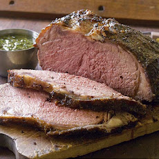 Pepper-Crusted Grill-Roasted Beef with Rosemary Chimichurri