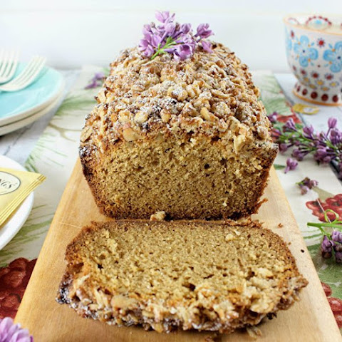White Chocolate Lavender & Earl Grey Pound Cake with Coconut Walnut Crumble