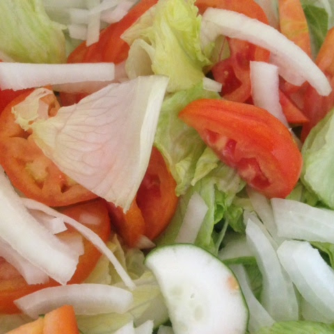 CUCUMBER, ONION & TOMATO SALAD with LEMON VINAIGRETTE * Lettuce * Dill or Parsley *