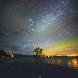Night out at The Lake by Anupam Hatui - Landscapes Starscapes ( astro, waterscape, colors, stars, night, astrophotography, landscape, lake wanaka )