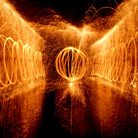 Steel Wool by Jordan Wangsgard - Abstract Fine Art ( walls, light painting, steel wool, orb, nightography, long exposure, burn, spark, bounce, wate, fire )