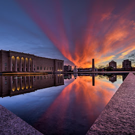 Nelson Atkins - Sunset Corner by Jonathan Tasler - Buildings & Architecture Public & Historical ( building, reflection, 14-24mm f2.8, kansas city, colorful, reflecting pool, sunset, nikon d810, architecture, nelson atkins )