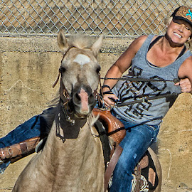 Blonde Barrel Racer 2 by Joe Saladino - Sports & Fitness Rodeo/Bull Riding ( blonde, barrel racer, horse, competiton, racer )