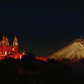 Church and  snowy Volcano by Cristobal Garciaferro Rubio - City,  Street & Park  Vistas ( mountain, volcano, church, popocatepetl, snowy volcano )