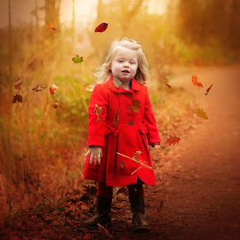 Autumn leaves are fun by Love Time - Babies & Children Child Portraits ( child, girl, autumn, outdoors, fun, leaves, woods )