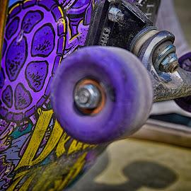 Artistic Board On Wheels by Marco Bertamé - Artistic Objects Other Objects ( wheel, purple, yellow, skateboard )
