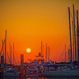 Sunset at Lingnano marina by Michaela Firešová - Transportation Boats ( sunset, boats, marina,  )
