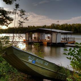 Sunset at Truman Lake, MO by David Shayani - Landscapes Sunsets & Sunrises ( olympus e 300, boat dock, four thirds, sunset, picasa photo editor, tripod, boat, photomatix pro, dock )