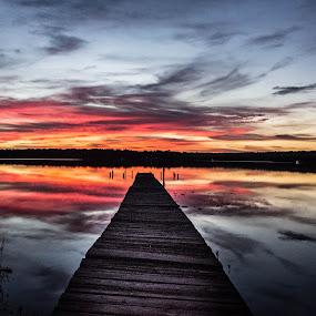 by April Sadler - Landscapes Sunsets & Sunrises ( #dock #water #sunset #colors #lake #clouds,  )