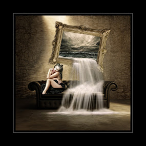 cried an ocean by Kathleen Devai - Digital Art People ( fantasy, sofa, woman, surreal, painting )
