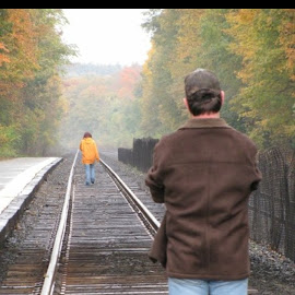 Untitled by Robin View - People Couples ( train tracks guy man boyfriend brother sister grief grieving letting go girl )