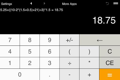 Calculator with parentheses - screenshot