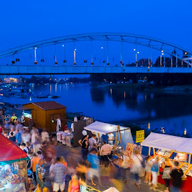 Festival at Tisza river by Lajos E - Buildings & Architecture Bridges & Suspended Structures ( water, tisza, people, city, lights, program, festival, night, bridge, marketplace, evening, szeged, crowd, river )