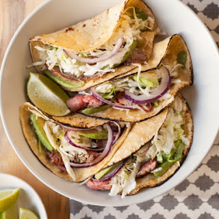 Flank Steak Tacos with Lime Cilantro Slaw