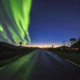 Aurora by Jens Andre Mehammer Birkeland - Landscapes Starscapes ( sunset, aurora borealis, aurora, road, light )