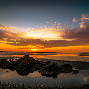 Piled Of Rocks by Ted Khiong Liew - Landscapes Sunsets & Sunrises ( water, sky, sunset, sea, beach, rocks )