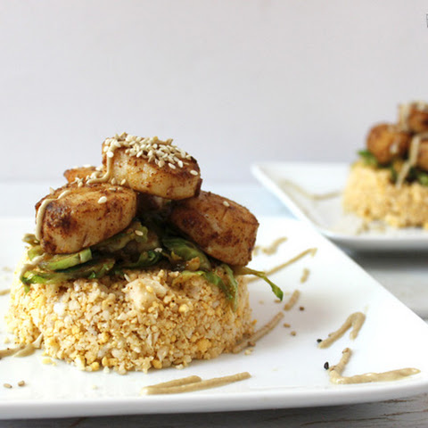 Bbq scallops with cauliflower rice. Grain-free. Gluten-free. Dairy-free.