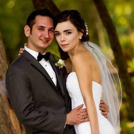 Caught... by Matthew Chambers - Wedding Bride & Groom ( love, wedding, dress, outdoor, suit, veil, beauty )