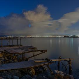 The abandoned port II by Zisimos Zizos - Landscapes Weather ( port, night photography, greece, long exposure, seascape, longexposure, nightscape )