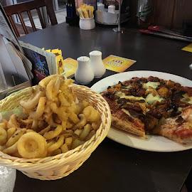 Calamari and Pizza Yum by Dawn Simpson - Food & Drink Plated Food ( seafood, pizza, fast food, unhealthy, calamari, italian, food )