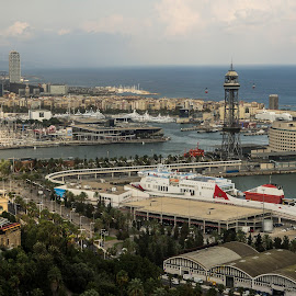 Barcelona Harbor by Frank Barnitz - City,  Street & Park  Vistas ( harbor, city view, vista )