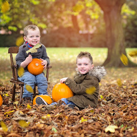 brothers by Melissa Marie Gomersall - Babies & Children Child Portraits ( autumn, oragne, pumpkins, twins, colours, brothers )