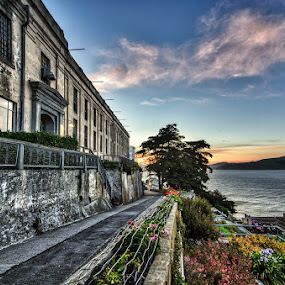 Alcatraz at Sunset by Dee Zunker - Buildings & Architecture Public & Historical ( sunset, alcatraz, flowers )