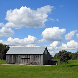 Fluffy white clouds over the barn by Mary Gallo - Landscapes Cloud Formations ( blue sky, barn, nature, white clouds, fluffy white clouds, farm, clouds, landscape,  )