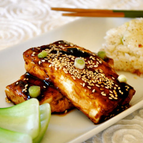 Teriyaki Black Tofu with Sticky Rice Cakes