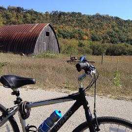 Bike by the Barn by Barry Lehman - Transportation Bicycles ( bike, biking, root river, fall, transportation )