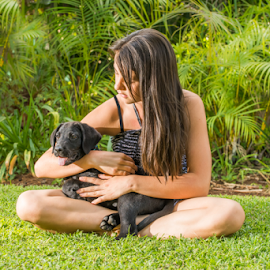 Teenage Girl with Labrador Puppy, Playing on Lawn by Jacques Jacobsz - Animals - Dogs Puppies ( home, face, lawn, holding, house, long, cute, cuddle, pretty, people, skin, love, looking, girl, nature, hands, teenager, dark, sunshine, arms, hair, black, animals, grass, teen, loving, labrador, young, sit, sitting, sweet, pet, summer, puppy, dog, garden, natural, outside )