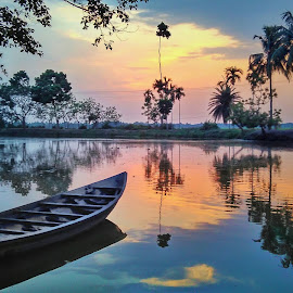 A Colourful Afternoon by Avijit Bhakta - Landscapes Waterscapes ( water, naturelovers, reflection, waterscape, beautiful, tropical, journey, beauty, landscape, boat, colours, mirror, boating, colourful, nature, tree, trees, natural, river,  )
