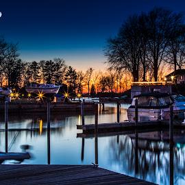 Sun Setting in Wilson Harbor by John Witt - Landscapes Sunsets & Sunrises ( lake ontario, moon, sunset, wilson, calm water,  )