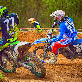 Passing Manoeuvre by Marco Bertamé - Sports & Fitness Motorsports ( curve, motocross, fight, passing manoeuvre, dust, clumps, race, duel, competition, close )