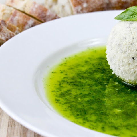 Parmesan Coated Goat Cheese with Basil Oil