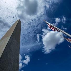 Високо by Nadejda Daneva - Buildings & Architecture Statues & Monuments ( монумент, вашингтон, флаг, знаме, обелиск )