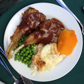Yum, I love Lamb Chops! by Dawn Simpson - Food & Drink Plated Food ( dinner, meat and veg, gravy, crumbed cutlets, lunch, pumpking, lamb chops )