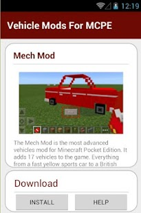 8 Vehicle Mods For MCPE App screenshot