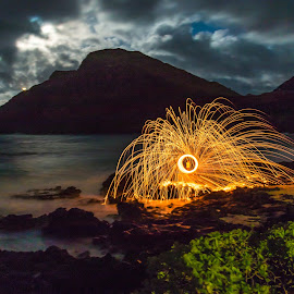 Light Painting On Makapu Point by Kathy Suttles - Abstract Light Painting ( suttleimpressions, light painting, beach play, moon shine, makapu point, oahu, hawaii, moon glow )