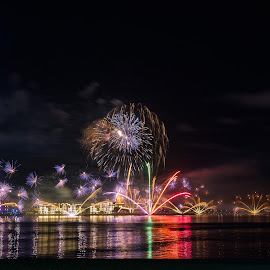 Happiness All Around by Ansari Joshi - Abstract Fire & Fireworks ( emirates, visit rak, night scene, nightshot, sky scape, waterscape, colors, beautiful, reflections, nightscape, night photography, uae, happiness festival, fireworks, ras al khaimah, long exposure )