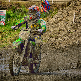 Green Splasher by Marco Bertamé - Sports & Fitness Motorsports ( motocroass, mud, splash, green, clumps, race, alone, competition )