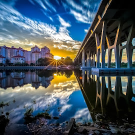 Good Morning Singapore by Freddy Ng - Buildings & Architecture Bridges & Suspended Structures ( reflections, moving clouds, sunrise, bridge, star burst, singapore )
