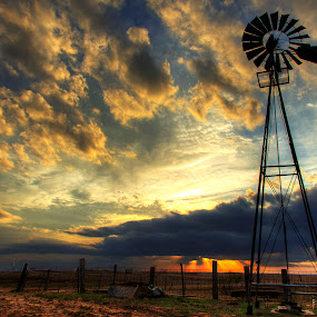 Texas sunset by Brett Wright - Landscapes Sunsets & Sunrises ( clouds, contrast, hdr, sunset, texas, landscape, windmill )